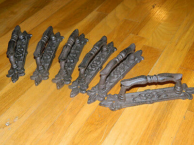 "Set/8 French Style Rustic Iron Door Gate 9"" Handles Pulls"