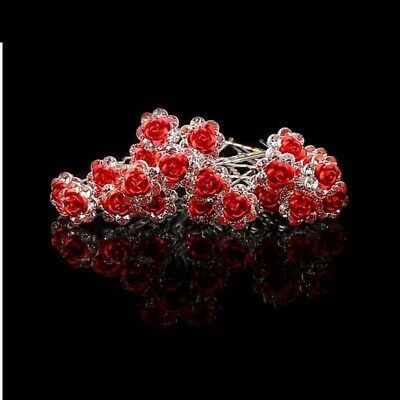20 Red Flower Crystal Bridal Wedding Prom Hair Pins Clips 1010