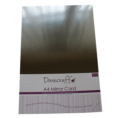 5 x A4 SHEETS OF PREMIUM HIGH SHINE SILVER MIRROR CARD DOVECRAFT