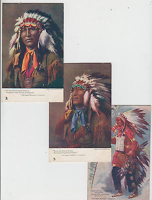 Postcards Tuck group of 3 American Indian Chiefs 1d Victorian stamps APSLEY 1905
