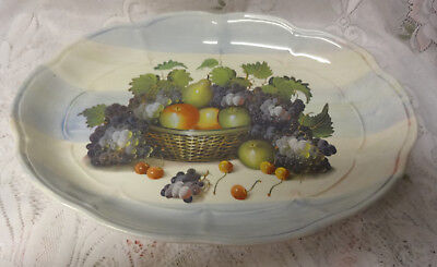 Vintage Mark Italy Ceramica Due Torri Thanksgiving Basket Fruit Salad Platter