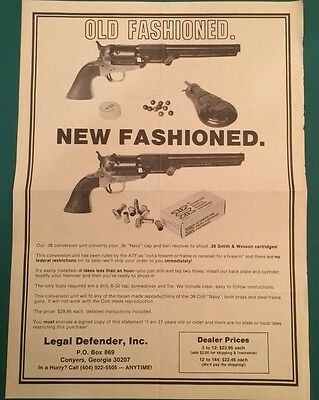 Legal Defender Colt Revolver Conversion Brochure Advertising Instructions