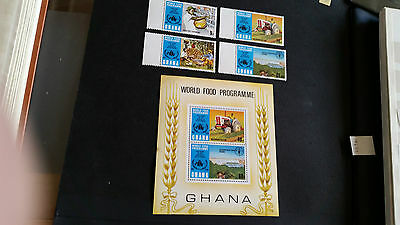 Ghana 1973 Sg 677-680 + Ms681 10Th Anniv Of World Food Programme Mnh