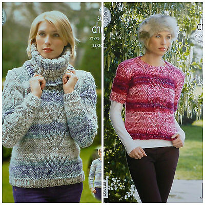 KNITTING PATTERN Ladies Easy Lace Jumpers & Deep Ribbed Cowl Super Chunky 4289
