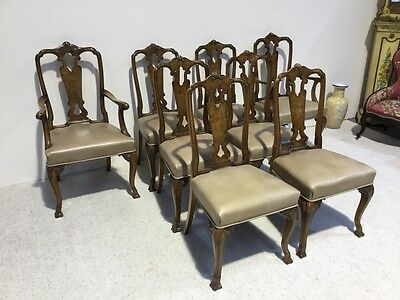 Set Of 8 Antique Burr Walnut Dining Chairs Superb Example Quality Very Rare