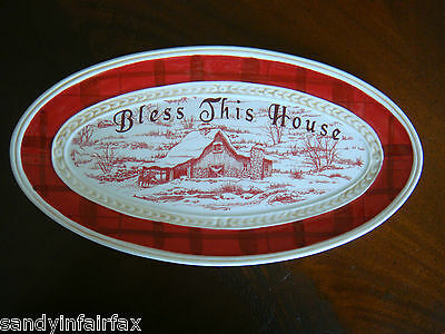 "Fitz and Floyd ~ Town and Country ""Bless This House"" ~ 10"" Tray / Dish ~ Mint"