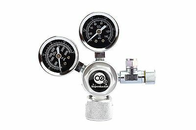 CO2 Regulator with Dual Pressure Gauge for Vertical Cylinder Valves