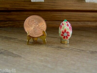 Miniature Dollhouse Smooth Rust /& Green Flowered Easter Egg on Stand