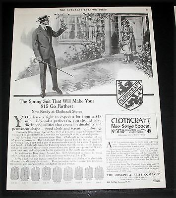 1913 Old Magazine Print Ad, Clothcraft Clothes, Spring Suit, Blue Serge Special!
