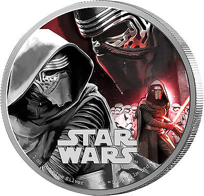 2016 $2 Star Wars: The Force Awakens- Kylo Ren - 1 oz Silver Proof Coin- NZ Mint