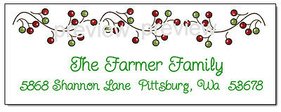CHRISTMAS HOLLY BERRY #333 Return Address Labels
