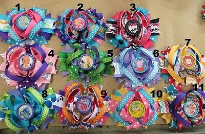 "4"" Hair Bow W/ Bottle Cap (Bubble Guppies,monster High,tinkerbell,peppa Pig,pony"
