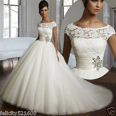 New A-Line White/Ivory Wedding Dress Bridal Gown Stock Size 4 6 8 10 12 14 16 18