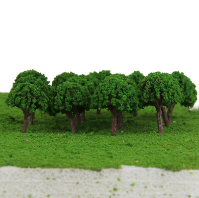 50 Light Green Trees fit Z T Scale Model Train Road Park Diorama Scene 1:500