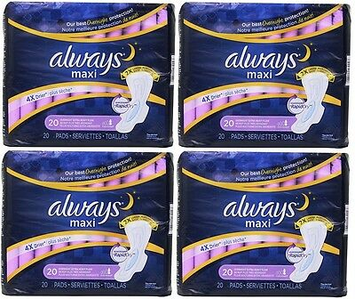4 Pack Always Extra Heavy Overnight Maxi Pads with Flexi-Wings - 20 Count Ea
