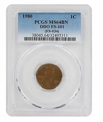 1980 Lincoln Cent PCGS MS64BN DDO FS-101 Cherrypicker Double Die Obverse