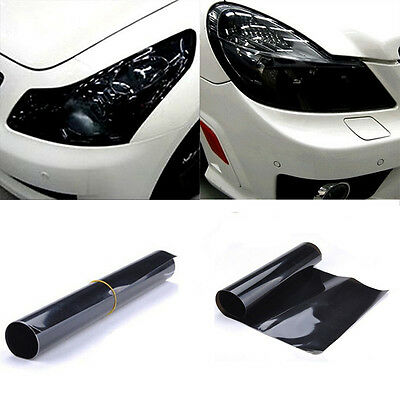 "12"" x 48"" Dark Black Gloss Smoke Film Tint Headlight Fog Tail light Vinyl Film"