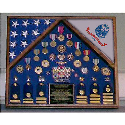 Army 2 Flag Shadow Box/Display Case Hand Made By Veterans