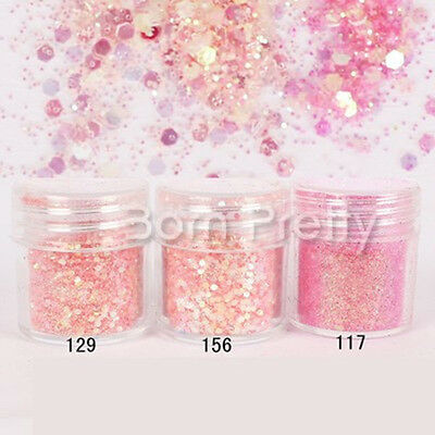 10ml Glitter Powder Rose Poudre Paillette Brillant Décoration Ongles Nail Art