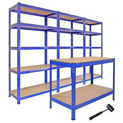 3 T-Rax Steel Racking Garage Shelving 5 Tier Shelves Racks Bays Workbench