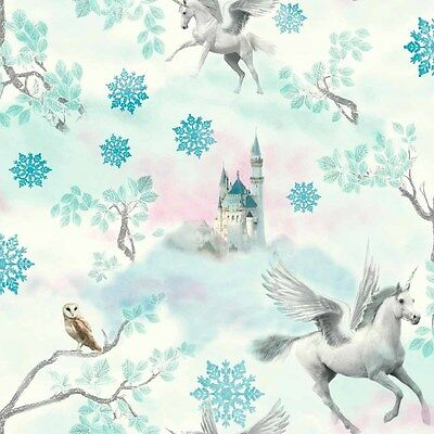 Fairytale Teal Blue Unicorns Wallpaper by Arthouse Silver Glitter 667800