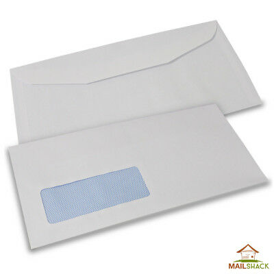 White DLXX Envelopes HIGH QUALITY 90gsm Gummed Window 10 20 50 100 200 500 etc