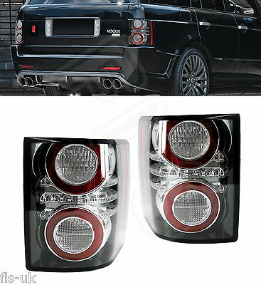 Range Rover Vogue L322 '10-'12 Rear Led Tail Light Cluster Pair Black Insert
