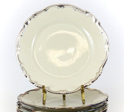 "6pc Hertel Jacob Porcelain Applied Silver Overlay Salad Plates 7.5"" #HEJ89 c1930"