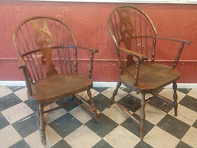 Vintage Karpen Matching Windsor Arm Chair & Rocking Chair w/ Rush Seat- 2 CHAIRS