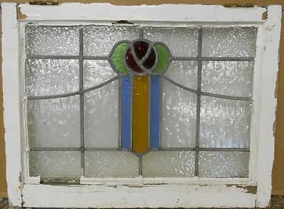 """MID SIZED OLD ENGLISH LEADED STAINED GLASS WINDOW Gorgeous Floral 25"""" x 18.75"""""""