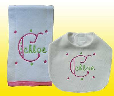 New Handmade Embroidered Personalized Pink Girl Baby  Bib, Burp Cloths Sets