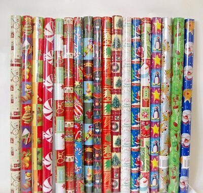 10 X 5M Rolls Christmas Xmas Gift Wrapping Paper Assorted Design Tree Santa Bell