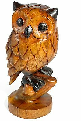 Wooden Owl Carving Ornament Hand Carved Owl on Perch. Choice of 3 sizes 7/9/12""