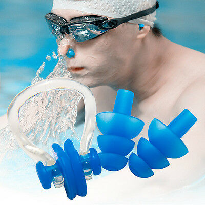 Candy Color Swimming Diving Soft Silicon Ear Plugs And Nose Clip Set Protector
