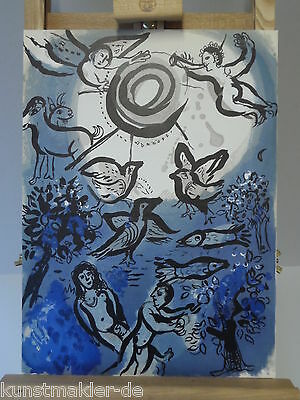 ORIGINAL Marc CHAGALL Lithographie 234 Die Schöpfung (inkl. Expertise)