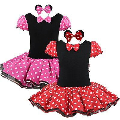 Girls Minnie Mouse Red Polka Dot Fancy Tutu Dress Costumes Outfit Party+Headband