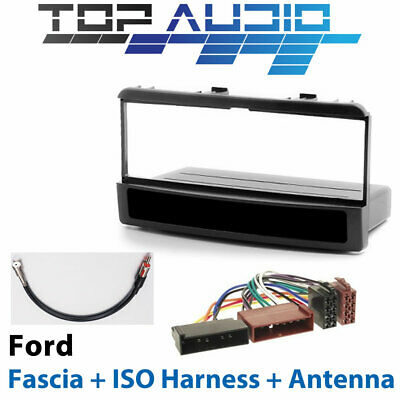Ford Car Stereo Single Din Dash Fascia Kit + ISO Wiring Harness + Antenna Wire