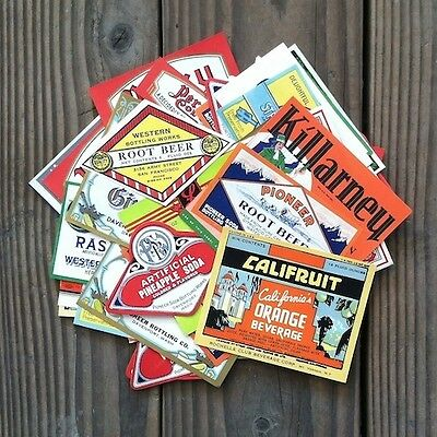 100 Vintage Original Assorted SODA BOTTLE Labels 1890s thru 1950s Unused NOS