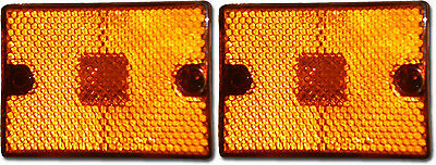 """TWO-2 LED Amber Marker Clearance Light Reflective 2x2 3/4""""  square stud trailer"""