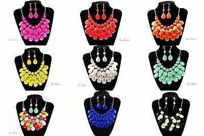 Set Halskette Collier+ Ohrringe 10 Farben Candy Colors gold Fashion Jewelry C002