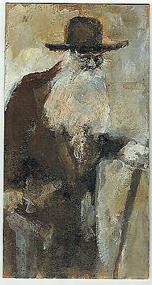 JUDAICA VINTAGE OIL ON CARDBOARD PAINTING OLD JEW SIGNED: WALD 1st HALF 20th CEN