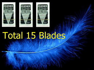 x15 Blades Feather Hi Stainless Razor Blade Sharp Double Edge Platinum Shaving
