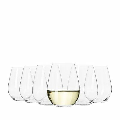 NEW Krosno Flair Stemless White Wine Glass 420ml Set of 6 (RRP $40)