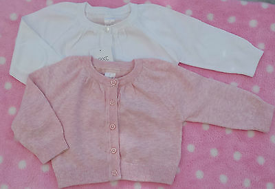 Bnwot Ex Next Baby Girls White Pink Cotton Knitted Cardigan Jumper Freepost