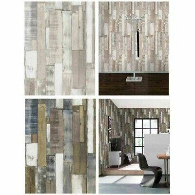 Modern Textured Wooden Panel Board Effect Wallpaper – Natural, Blue & White