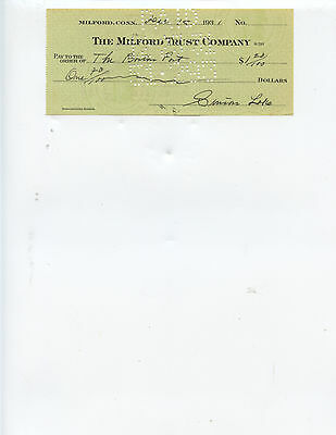 "Deceased U. S. Submarine Inventor ""simon Lake"" 1931 Signed Check"