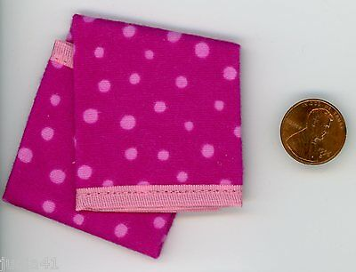 Miniature Dollhouse Blanket / Rose Pink Dots