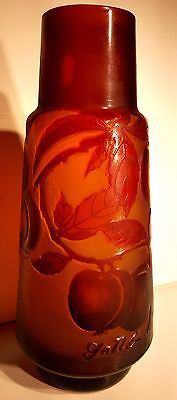 Emile Galle Style Art Nouveau Acid Etched Frosted Cameo Glass Vase Fruit Amber