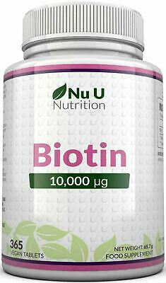 Biotin 10,000mcg Maximum strength 365 tablets  Healthy Hair Skin Nails Growth