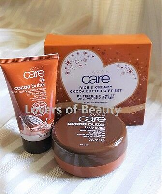 New! Avon Care Cocoa Butter Gift Set- Hand Cream+ Body Butter sealed in gift box